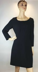 Tahari Black Bow Sheath Dress Size 10 Long Sleeve